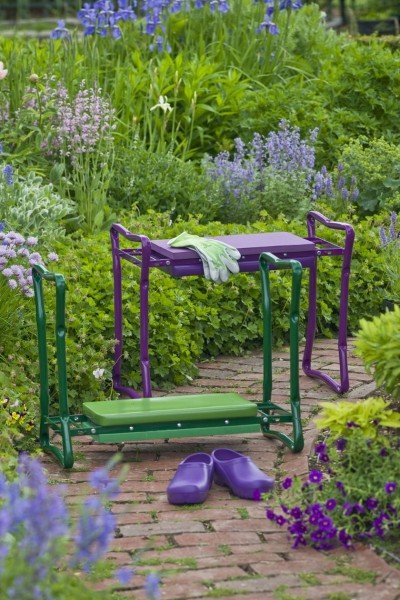 Purple garden seat from gardener.com I don't use mine for kneeling, but as a handy garden seat, it's the best.
