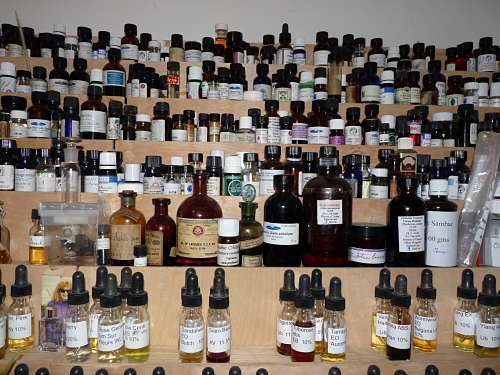 What many perfume organs still look like, but this was only temporary. You can see the beginning of my dilutions on the bottom row. This photo is about 10 years old
